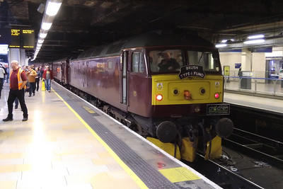 47245 is pictured again on arrival at Paddington's Platform 11 with 1Z77. The tour was being run in conjunction with the Brush Type 4 Fund to raise money on behalf of the Railway Children charity (02/12/2017)