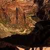 Looking down the vertical drop from alongside the Angel's Landing trail in Zion.