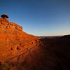 Morning sun falls down the walls at Mexican Hat, Utah.
