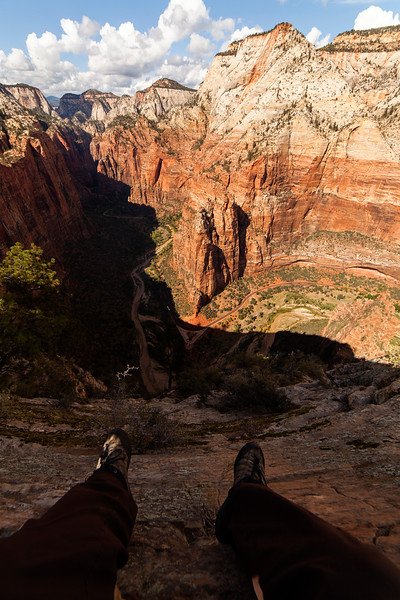 Looking down to the road from the summit of Angel's Landing.