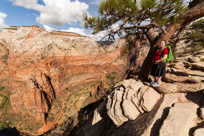 Tracy pauses along the Angel's Landing trail for a scenic shot.