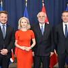 Iceland's FM Guðlaugur Þór Þórðarson(left), Liechtenstein's FM Aurelia Frick, and Norway's EEA/EU minister Frank Bakke-Jensen (l) meet Malta's deputy PM Louis Grech