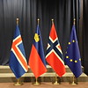 Icelandic, Liechtenstein, Norwegian and EU flag at EEA Council Meeting on 16 May 2017