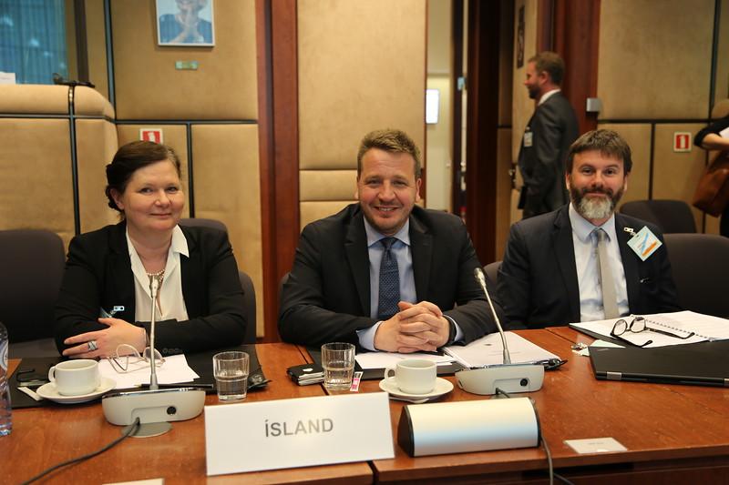 Iceland's Ambassador to the EU Bergdís Ellertsdóttir, Iceland's FM Guðlaugur Þór Þórðarson, Finnur Þór Birgisson Cousellor, MFA Iceland
