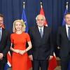 Iceland's FM Guðlaugur Þór Þórðarson (left), Liechtenstein's FM Aurelia Frick, and Norway's EEA/EU minister Frank Bakke-Jensen (l) meet Malta's deputy PM Louis Grech