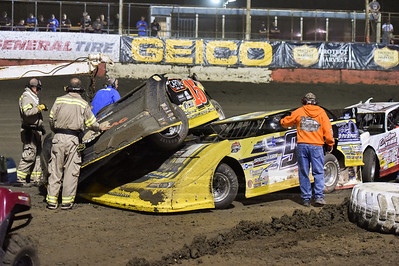 Steve Francis (15) on top of Frank Heckenast, Jr. 's (99JR) car