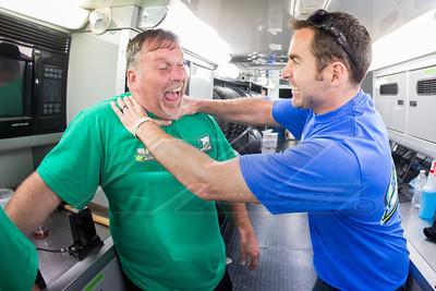 Josh Richards (R) jokes around with crew chief Randall Edwards (L)