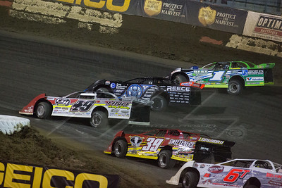 Jonathan Davenport (49), Scott Bloomquist (0), Josh Richards (1) and Tim McCreadie (39)