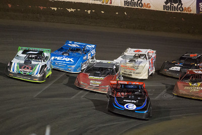 Scott Blxoomquist (0), Josh Richards (1), Jonathan Davenport (49), Don O'Neal (5) and Tim Dohm (6T)