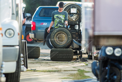 Mason Zeigler crew guy grinding a tire