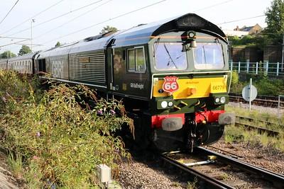 66779 0840/1z66 Peterborough-Bristol passes on a charter.