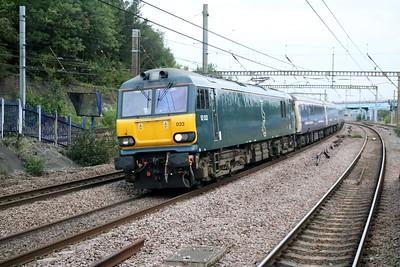 92033 0638/1E35 Glasgow-Kings Cross 1st diverted sleeper of the morning.