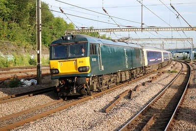 92010 0810/1E43 Aberdeen-Kings Cross passes with the 3rd and final diverted sleeper of the morning.