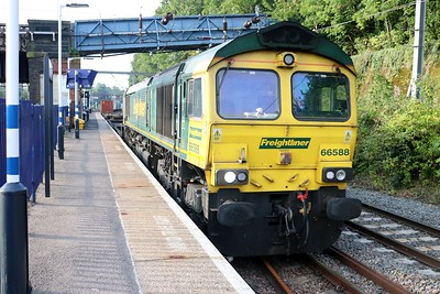 66588 0758/4e63 Felixstowe-Doncaster passes with a diverted liner.