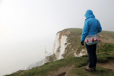 Lydia at Beachy Head - 163m above sea level ARE high