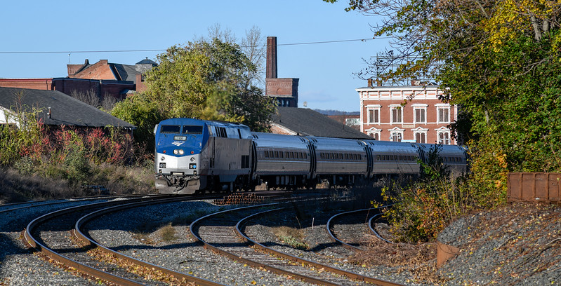 Amtrak's Vermonter has just left the station at Holyoke and is heading south on the Conn River Line to Springfield.