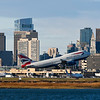 British Airways flight 238, the morning flight to London, takes off with the Boston skyline in the background.