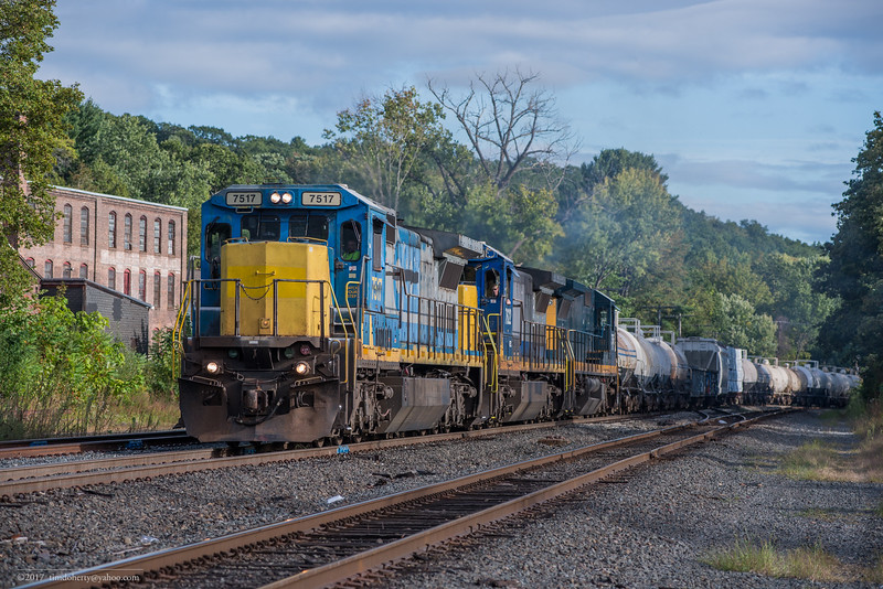 Pan Am's East Deerfield to Bellows Falls train EDBF passes through CPF385 and enters the Conn River Line at Greenfield.