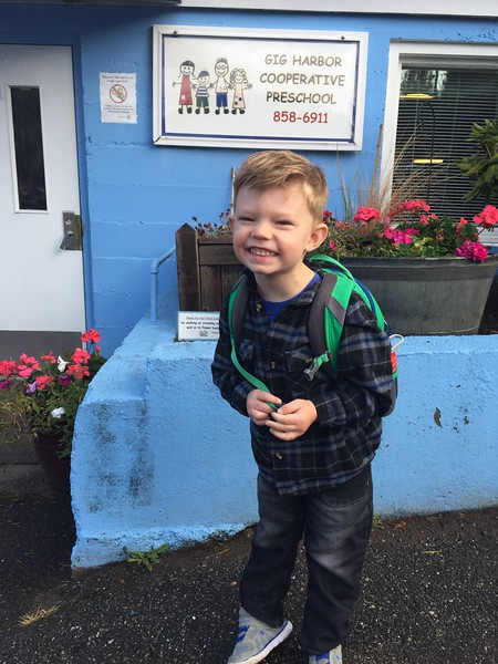 "Braydel's first day of preschool. His Mom gave him a hug when she was leaving and he said ""Ok Mom, you can go now!"""
