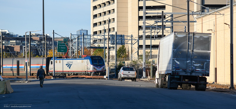 Amtrak 626 is turned on the loop at Widett Circle in South Bostonl
