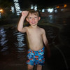 Braydel has fun in the pool at night.