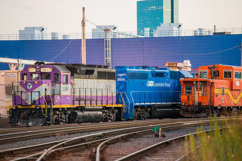 MBTA 3247 brought four leased GP-38 locomotives from Pan Am in Ayer on October 15, 2017. The Locomotives to be used for work train service,