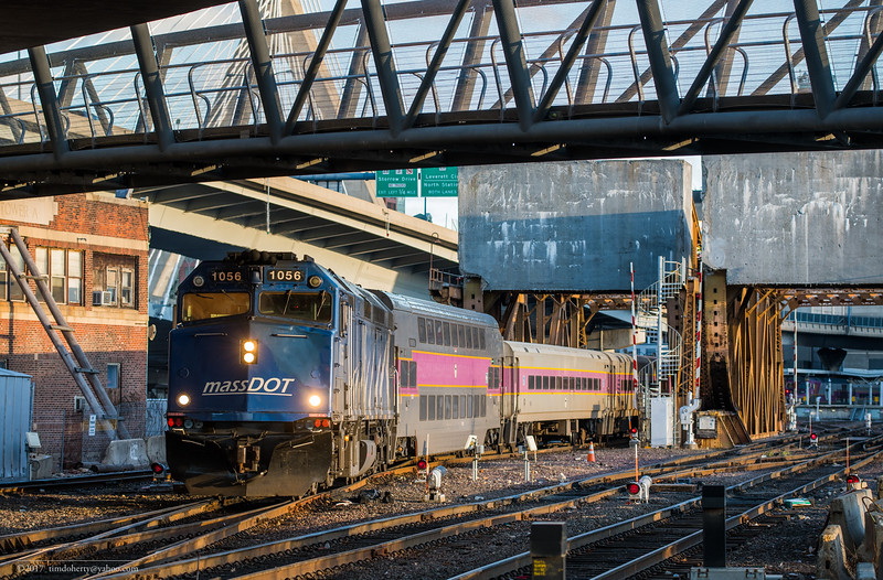 MassDOT loco 1056 takes Ficthburg Line train 2407 out from Tower A at the start of the trip to Watchusetts.