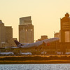 SAS's Boston to Copenhagen flight departs Logan Airport just before sunset on October 1, 2017.