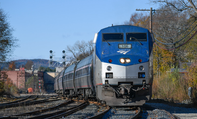 Amtrak 106 passing through CPF 385, the connection between the Conn River Line and Freight Main Line in Greenfield.
