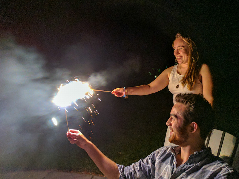 Isabel and Benjamin with sparklers