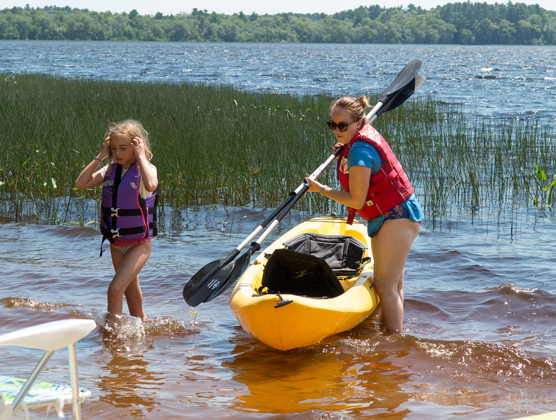 Hannah and Isabel with their kayak
