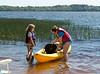 Hannah and Isabel adjusting their kayak