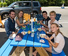 At the lobster roll and ice cream stand: Benjamin, Isabel, Joey. Caroline, and Hannah