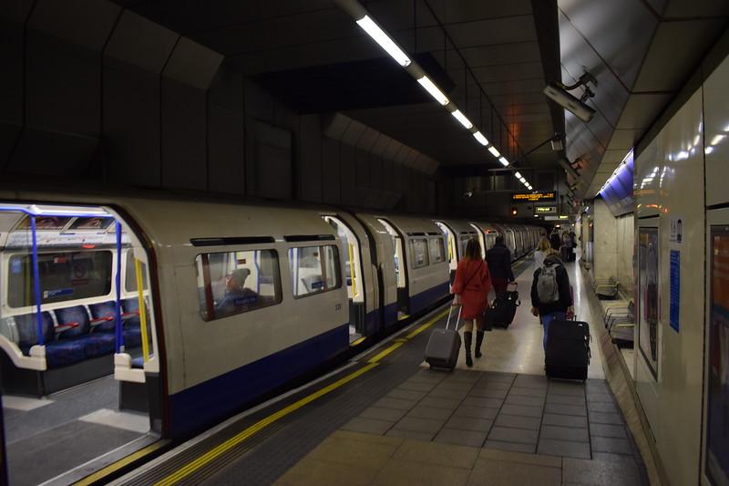 The London Underground Piccadilly Line platform at Heathrow Terminal 4.