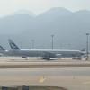 Cathay Pacific Boeing 777 aircraft at Hong Kong International Airport.