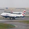 British Airways OneWorld branded Boeing 747-400 G-CIVC landing at London Heathrow.