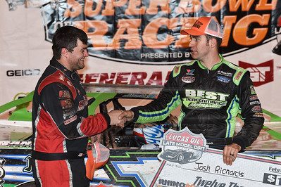 Brandon Overton (L) congratulates winner Josh Richards (R)