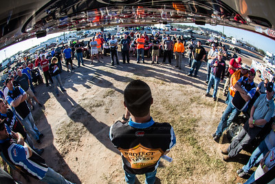 LOLMDS Series Director Rick Schwallie (C) leads the drivers meeting