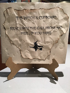 My completed Witch's Cupboard activity for the 3rd grade Halloween party