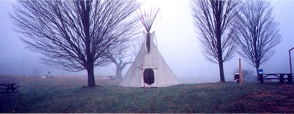 The teepee with Meadow Oak in background on race morning.