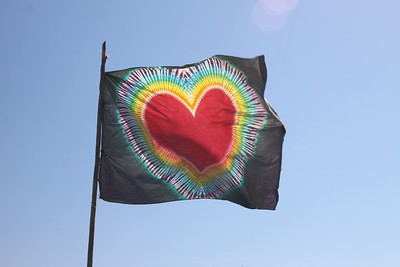 The Peace & Love flag at the finish line.