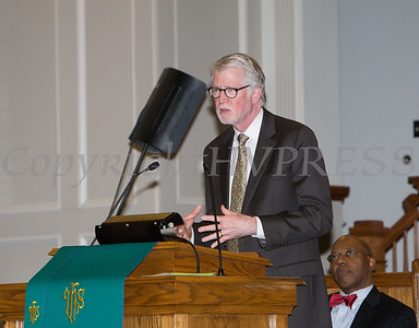 The Reverend William Dalrymple, Pastor Community Baptist Church, offers remarks during the Bethel Missionary Baptist Church hosted 29th Annual Dr. Martin Luther King Jr. Community Commemorative Service Sunday, January 15, 2017 in Wappingers Falls, NY. Hudson Valley Press/CHUCK STEWART, JR.