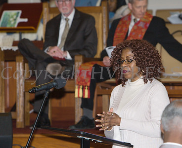 Dorena Robinson, President of the Black History Minsistry pays tribute to Lorraine Roberts as Bethel Missionary Baptist Church hosted the 29th Annual Dr. Martin Luther King Jr. Community Commemorative Service Sunday, January 15, 2017 in Wappingers Falls, NY. Hudson Valley Press/CHUCK STEWART, JR.