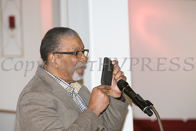 Rev. Nelson McAllister offers remarks during the Black History Committee of the Hudson Valley 49th Annual Martin Luther King Jr Celebration on Monday, January 16, 2017 at New Hope Baptist Church in Newburgh, NY. Hudson Valley Press/CHUCK STEWART, JR.