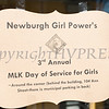 A sign welcomes young girls to the Newburgh Girl Power Program Third Annual Day of Service for Girls in honor of Martin Luther King Jr. on Monday, January 16 at Safe Harbors of the Hudson in Newburgh, NY. Hudson Valley Press/CHUCK STEWART, JR.