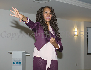 Guest speaker Asheena Baez shares her life story with the Newburgh Girl Power Program during its Third Annual Day of Service for Girls in honor of Martin Luther King Jr. on Monday, January 16 at Safe Harbors of the Hudson in Newburgh, NY. Hudson Valley Press/CHUCK STEWART, JR.