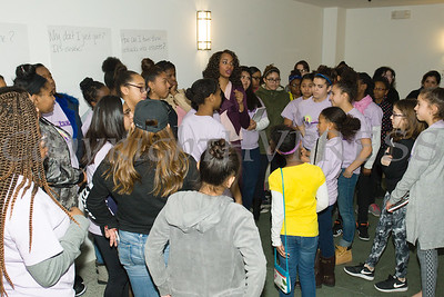 Asheena Baez talks with young girls during the Newburgh Girl Power Program Third Annual Day of Service for Girls in honor of Martin Luther King Jr. on Monday, January 16 at Safe Harbors of the Hudson in Newburgh, NY. Hudson Valley Press/CHUCK STEWART, JR.