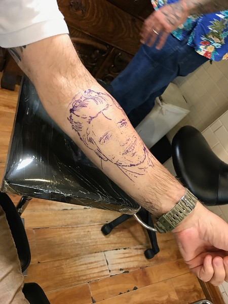 The stencil is on