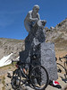 Marco Pantani statue at the summit of the climb, at 2480m elevation, over 8,100 feet