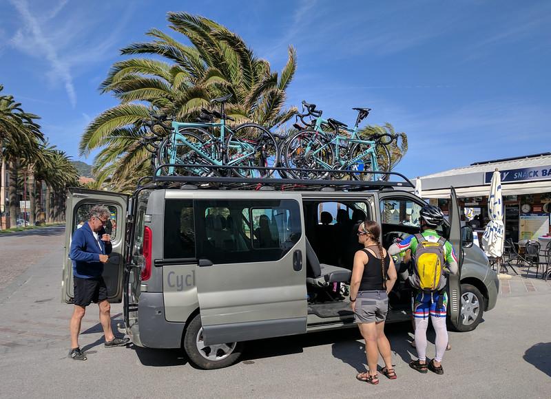 Bicycle van at FInale Liguria, on the Mediterranean Sea